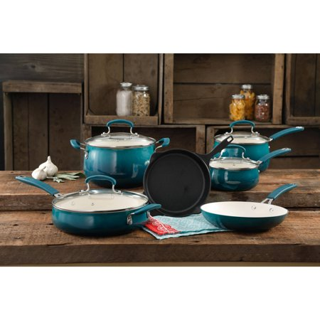 The Pioneer Woman Classic Belly Ceramic Non-Stick Interior Cookware Set, 10 Piece ()