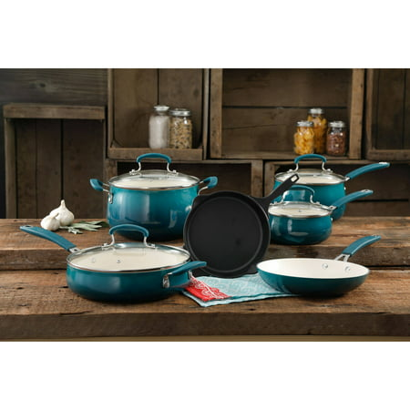 The Pioneer Woman Classic Belly Ocean Teal Ceramic Non-Stick Interior 10-Piece Cookware Set