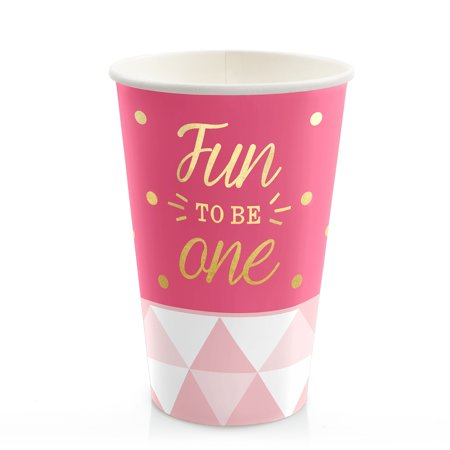 Fun to be One - 1st Birthday Girl with Gold Foil - Hot & Cold Drinking Cups (8
