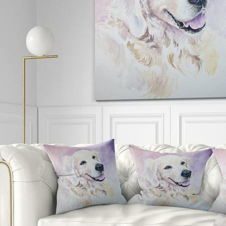 DESIGN ART Designart 'Funny Golden Retriever' Animal Throw Pillow (Golden Retriever Pillow)