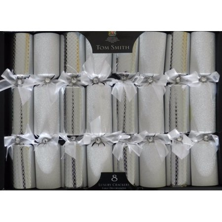 Tom Smith - SILVER Luxury Christmas Crackers - Pack of 8 - Each Containing a Distinctive Surprise Gift (Christmas Crackers)