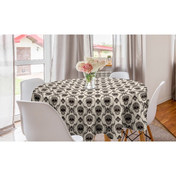 Damask Round Tablecloth Halloween Skulls In Victorian Classical Rococo Design Contemporary Retro Circle Table Cloth Cover For Dining Room Kitchen Decor 60 Beige And Dark Brown By Ambesonne Walmart Com Walmart Com