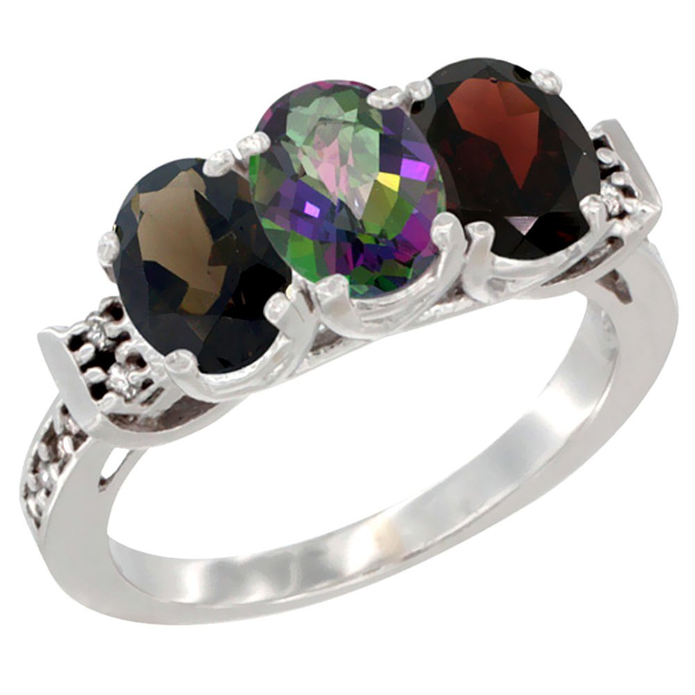 10K White Gold Natural Smoky Topaz, Mystic Topaz & Garnet Ring 3-Stone Oval 7x5 mm Diamond Accent, sizes 5 10 by WorldJewels