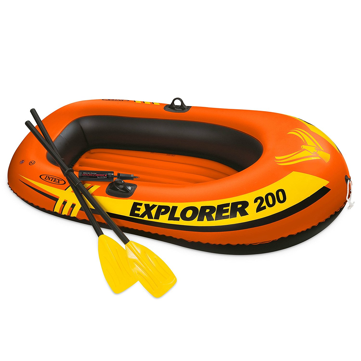 Explorer 200, 2-Person Inflatable Boat Set with French Oars and Mini Air Pump, 2-person inflatable boat set designed for... by
