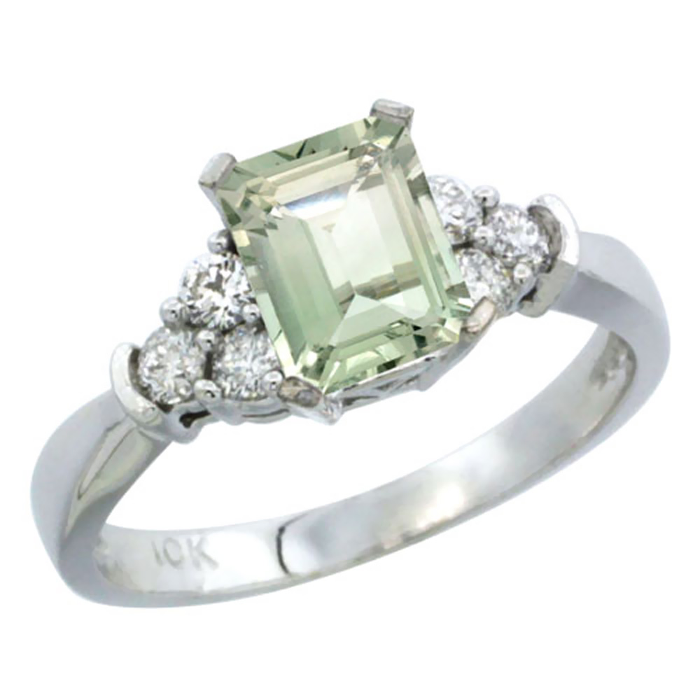 10K White Gold Natural Green Amethyst Ring Octagon 7x5mm Diamond Accent, sizes 5-10 by WorldJewels