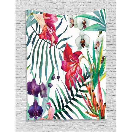 Watercolor Flower Decor Wall Hanging Tapestry, Tropical Wild Orchid Flowers With Palm Leaves Print Exotic Style Nature Artwork, Bedroom Living Room Dorm Accessories, By - Tropical Flower