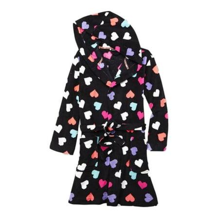e08139ee9dd6e Joe Boxer - Joe Boxer Womens Hoodie Colorful Black Heart Robe Short  Housecoat XL - Walmart.com