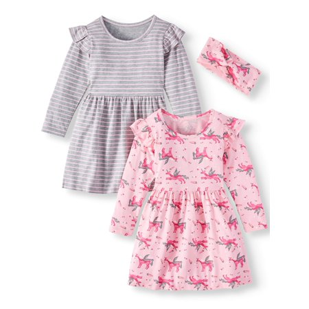 Freestyle Revolution 2-Pack Ruffled Detail Yummy Play Dress With Headband (Little Girls & Big (Two Strand Twist Styles For Little Girls)