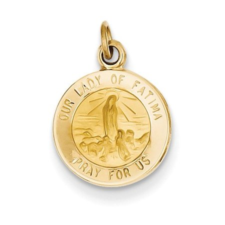 14k Yellow Gold Engravable Our Lady of Fatima Medal Charm. (0.7in long x 0.5in -
