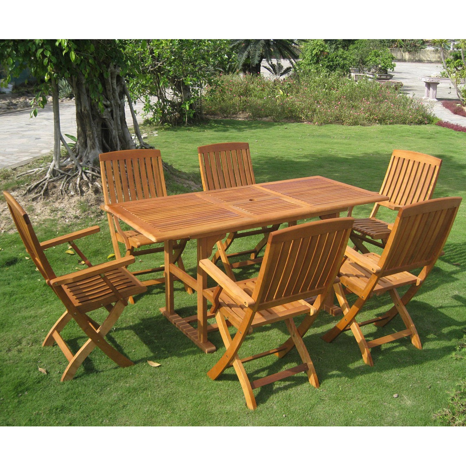 International Caravan Royal Tahiti Bascara Balau Wood 7 Piece Patio Dining Set
