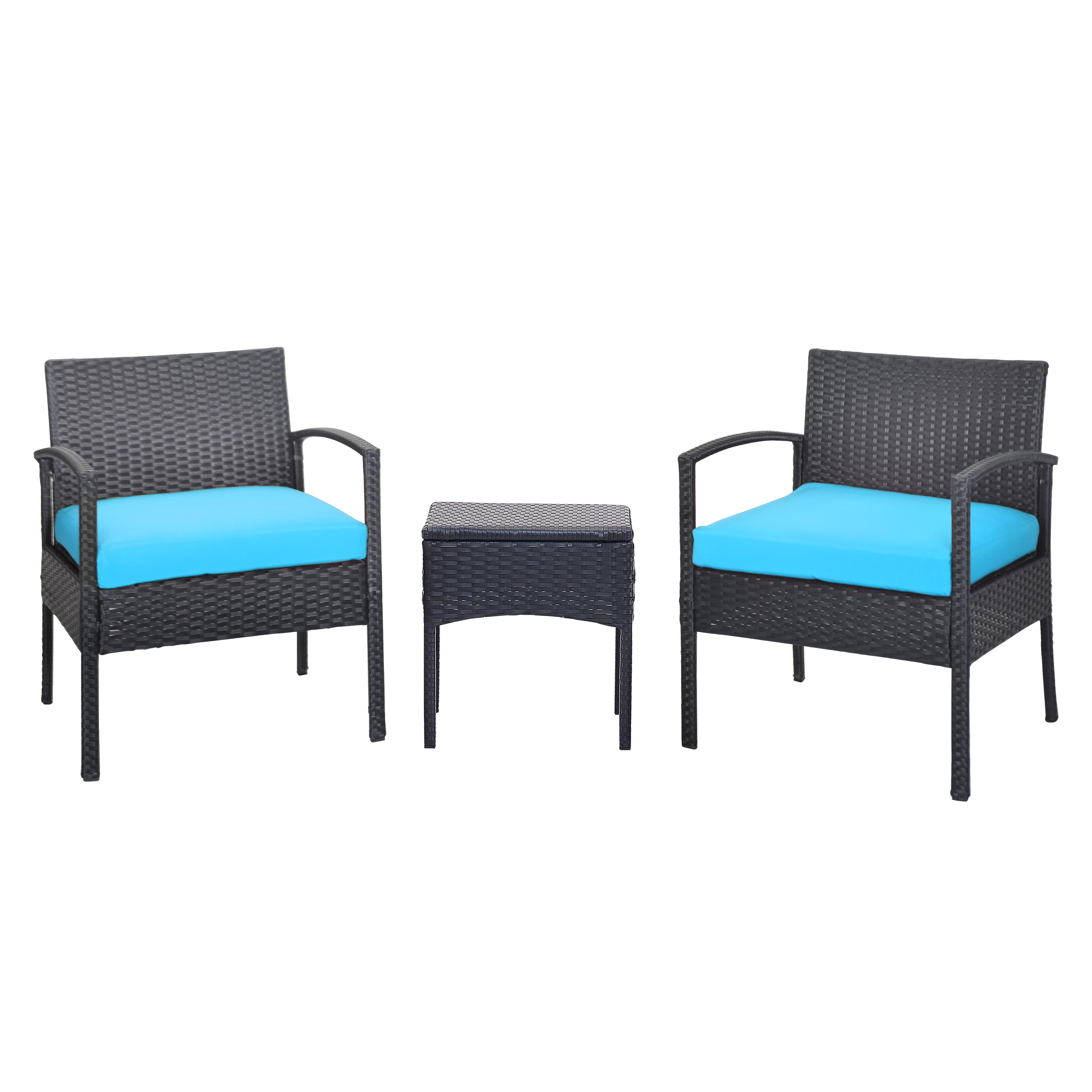 Daytona 3-Piece Seating Set, Black Wicker Rattan, Red Cushions