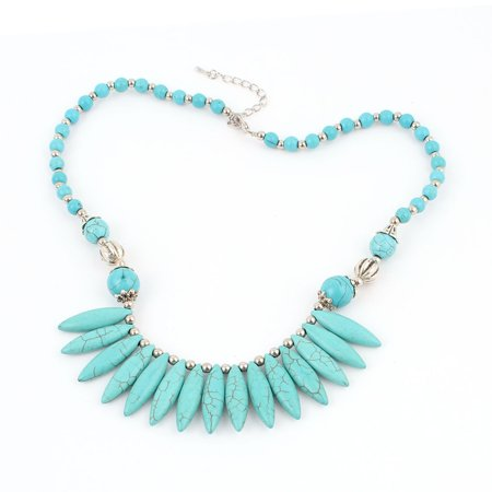 Unique Bargains Women Party Jewelry Bib Collar Style Beads Detail Turquoise Stone Necklace Teal ()