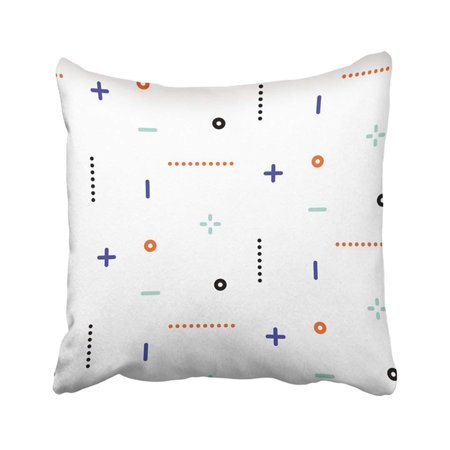 WOPOP Blue Abstract Thin Geometric Dots And Lines Pattern Orange Simple 80S 90S Classic Colored Pillowcase Pillow Cover 18x18 -