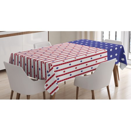 USA Tablecloth, American Flag with Stars and Stripes Nationality Independence Day Theme, Rectangular Table Cover for Dining Room Kitchen, 60 X 84 Inches, Violet Blue Ruby White, by Ambesonne
