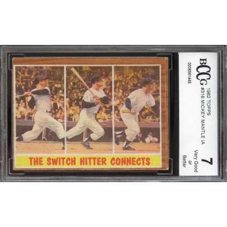 Issue Mickey Mantle - 1962 topps #318 MICKEY MANTLE IA new york yankees BGS BCCG 7