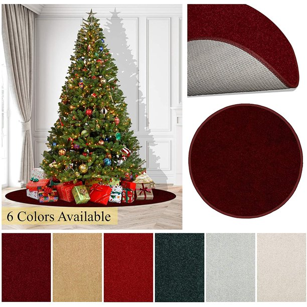 Seasonal Round Area Rug Carpets For Under A Christmas Tree Add Some Holiday Flare And Comfort Under Your Tree This Year 6 Ft Round Gold Walmart Com Walmart Com
