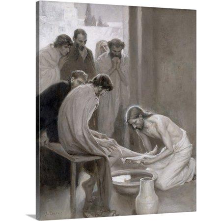 Great BIG Canvas Albert Gustaf Aristides Edelfelt Premium Thick-Wrap Canvas entitled Jesus Washing the Feet of his Disciples, -
