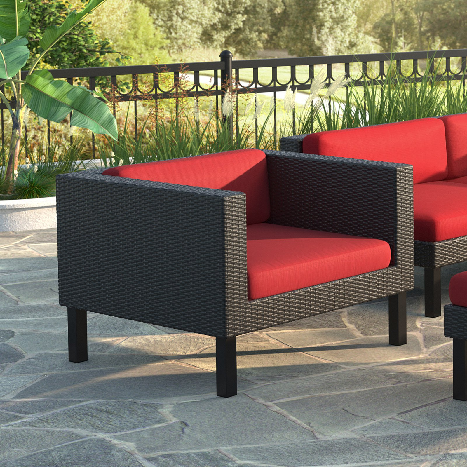 CorLiving Oakland Patio Arm Chair, Red Cushions