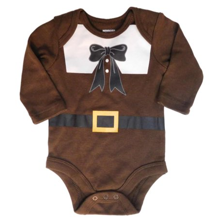 Infant Boys Thanksgiving Turkey Bodysuit Pilgrim Suit Holiday Creeper