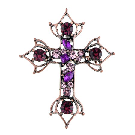 Gunmetal Tone Purple Rhinestones Antique Vintage Holy Cross Brooch Pin For Women -