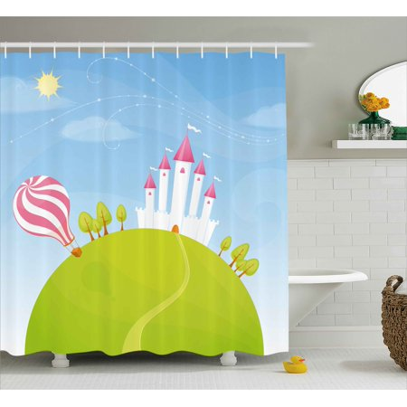 - Cartoon Decor Shower Curtain, Fantasy Castle on Top of the Hills and Hot Air Balloon in Sunny Sky Day Kids Art, Fabric Bathroom Set with Hooks, 69W X 70L Inches, Multi, by Ambesonne