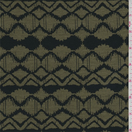 Army Green/Black Zig Zag Print Tencel Jersey Knit, Fabric By the Yard ()