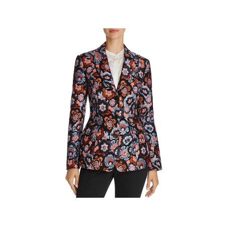 Theory Womens Jacquard Floral Print Three-Button Blazer