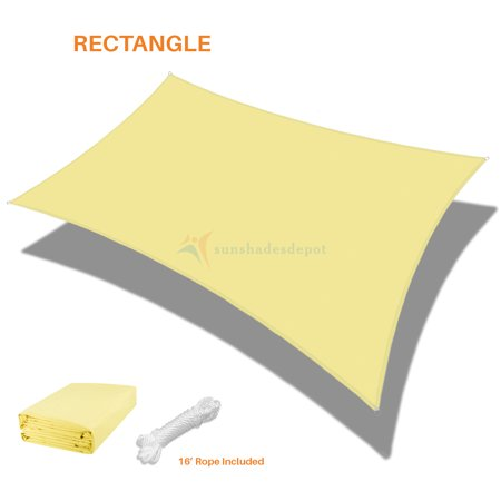 Sunshades Depot 15' x 24' Rectanlge Waterproof Knitted Shade Sail Curved  Edge Canary Yellow 180 GSM UV Block Shade Fabric Pergola Carport Canopy