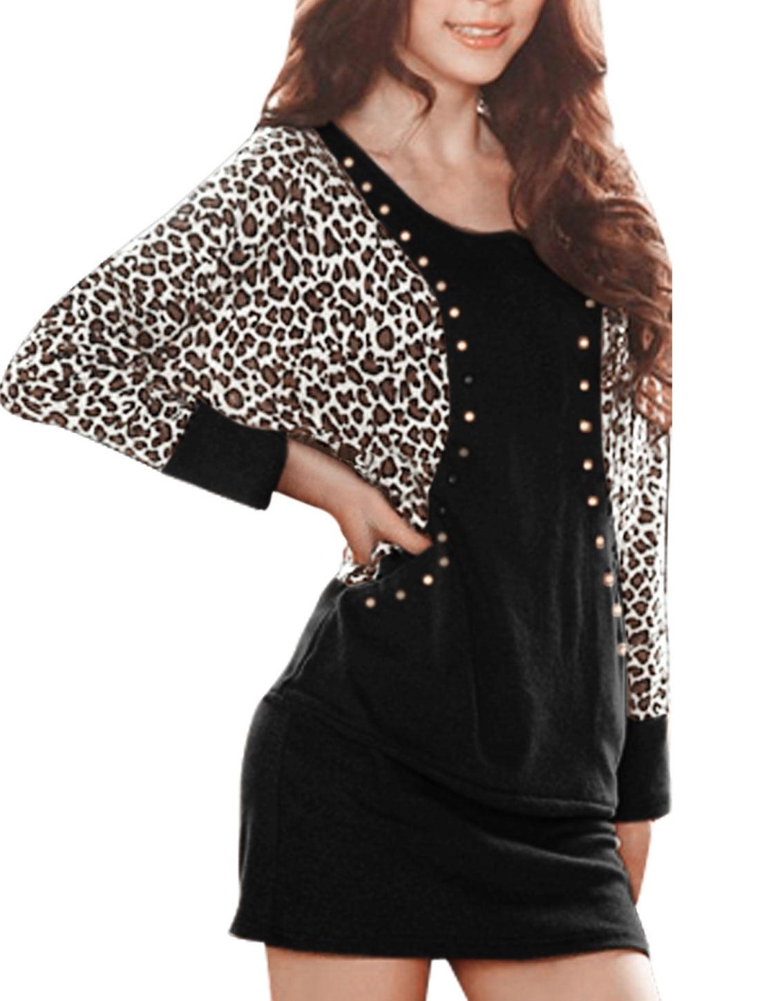 b8118ebb4fdf8 Unique Bargains Women s Plus Size Leopard Studs Batwing Bodycon ...