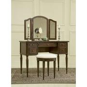Powell 3-Piece Vanity, Mirror and Bench Set, Cherry