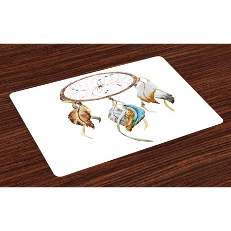 Feather Placemats Set of 4 Native American Watercolor Style Ornament Dream Catcher Ethnic Tribal Elements, Washable Fabric Place Mats for Dining Room Kitchen Table Decor,Brown Blue Grey, by Ambesonne (Feather Place)