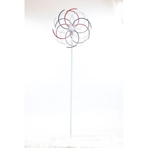 Alpine Solar 68'' Patriotic Dual Kinetic Windmill Garden Stake by