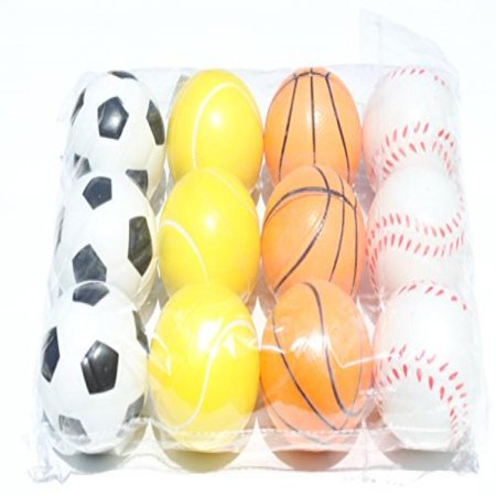 12 Sports Squeeze Ball (Soccer Basket Tennis Base Ball)- Stress Relief Finger Therapy After Hand Exercise Grip (Exercise Stress Test)