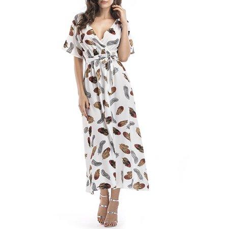 Maxi Dress, Aniwon Beach Summer Dress Sexy Floral Printed V Neck Long Short Sleeve Split Dress Holiday Travel Wear for Women