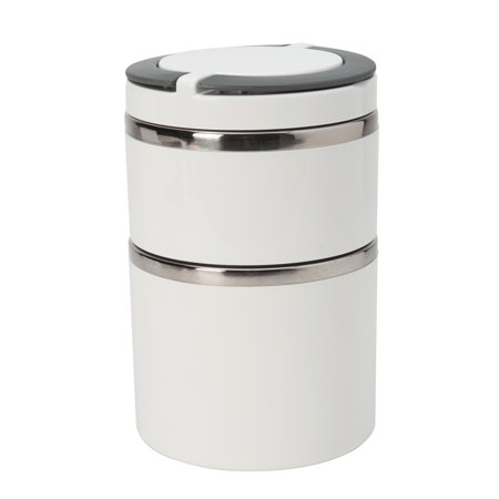 Kitchen Details Round Twist 2 Tier Stainless Steel Insulated Lunch Box (Dims: 4.4 x 6.9in -