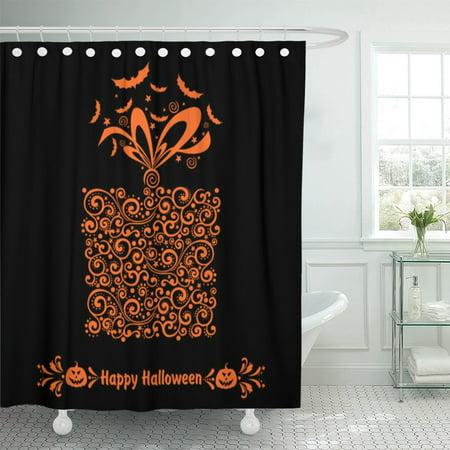 A Bat's Halloween Celebration (PKNMT Orange Bat Happy Halloween Celebration Boxes and Place Black Shower Curtain 60x72)