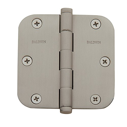"Baldwin 5/8"" Radius Corner Hinge (PAIR) 3.5 x 3.5 Satin Nickel"