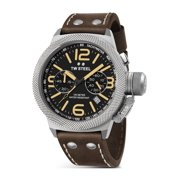 Mens XXL Stainless Steel Case Canteen Brown Leather Black Dial Silver Watch - CS34
