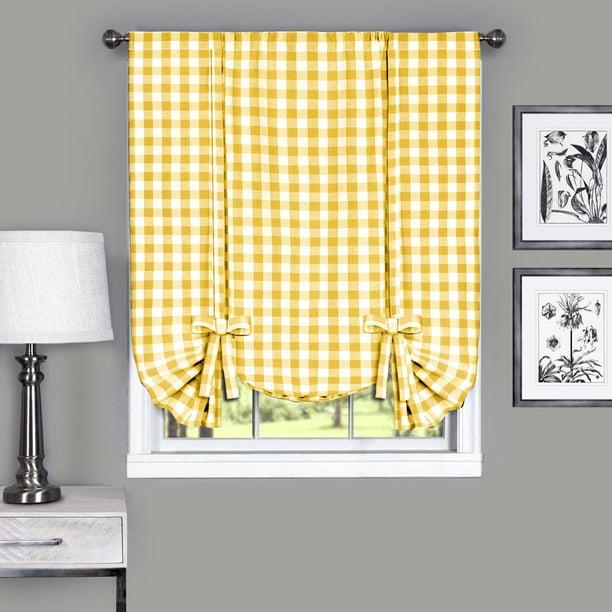 Achim Buffalo Check Window Curtain Tie Up Shade, 42 X 63