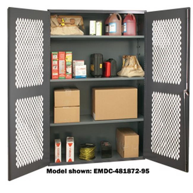14 Gauge Flush Door Style Lockable Cabinet with 3 Adjustable Shelves, Gray - 48 x 24 x 72 in.