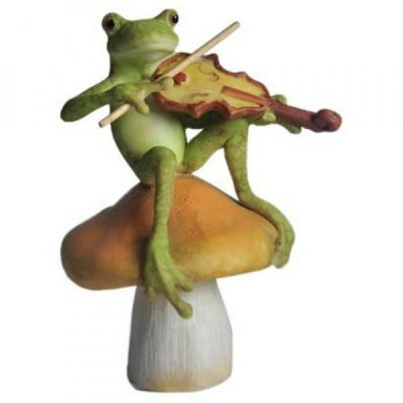 Top Collection Enchanted Story Fairy Garden Frog Playing Fiddle on Mushroom Outdoor Statue ()