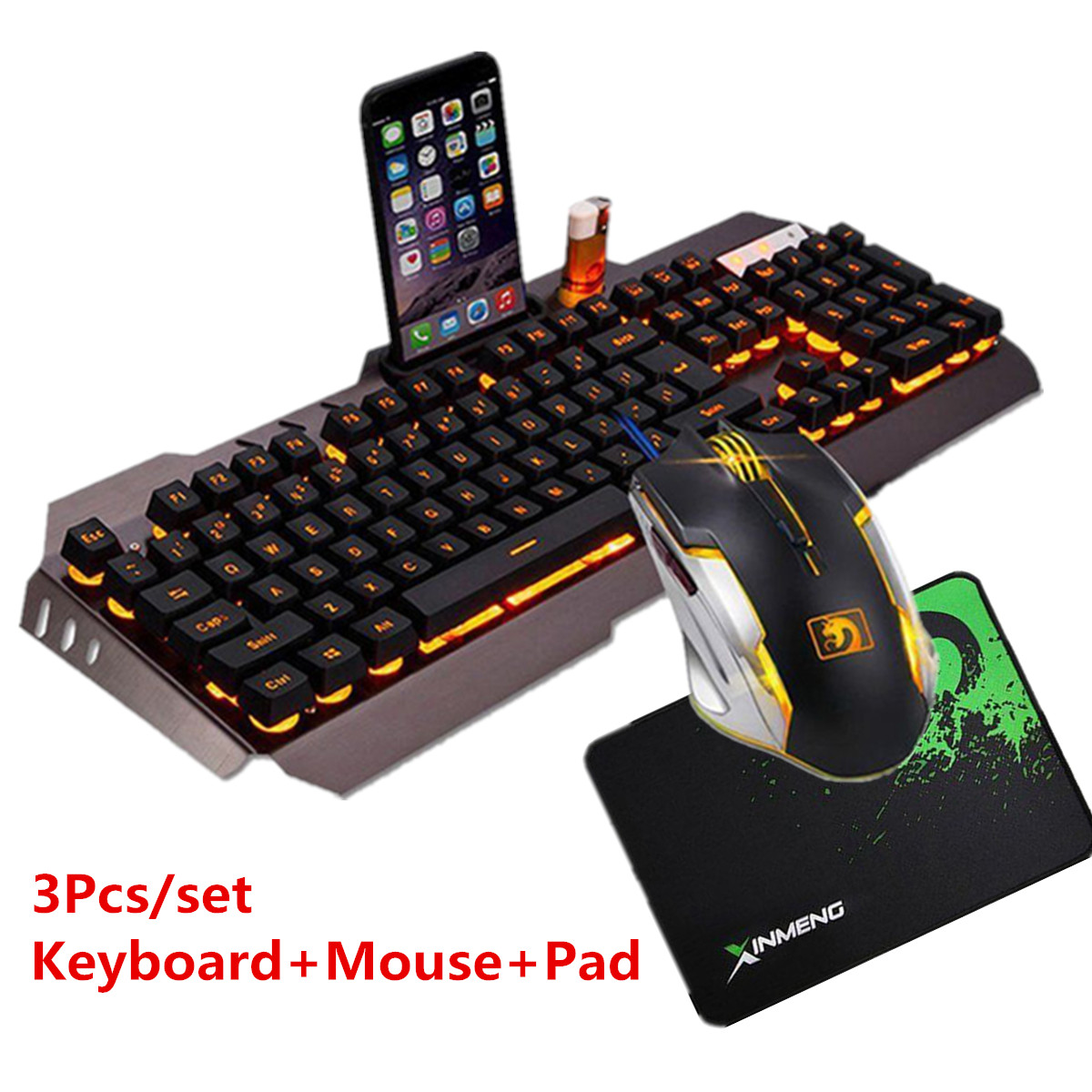 USB Wired Yellow LED Backlight Mechanical Handfeel Gaming Keyboard with Gamer Mouse Combo & Mouse Pad