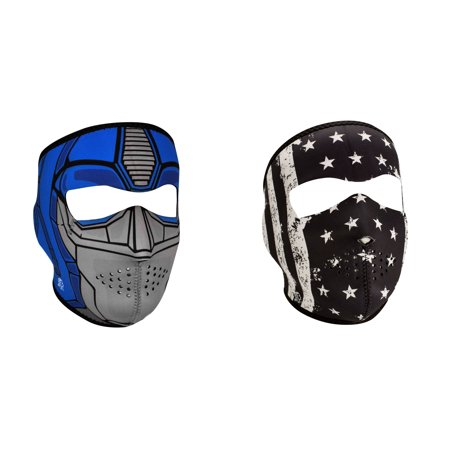 Zan Headgear Value Bundle Consisting Of 1 Zanheadgear Guardian Full Face Neoprene Face Mask  And  1 Zan Black   White Vintage American Flag Full Face Neoprene Face Mask  Ski Mask