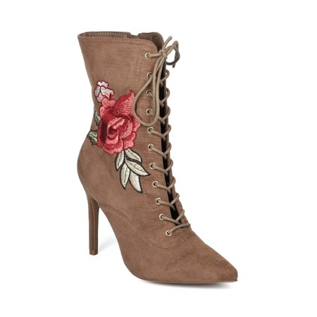 Women Pointy Toe Lace Up Embroidered Floral Stiletto Bootie Boot - HF13 by Collection