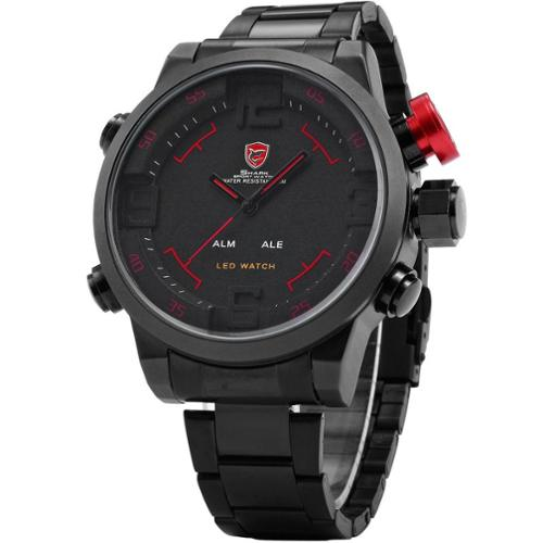 Shark Sport Watch Mens LED Date Day Display Sport Army Black/Red Stainless Steel Quartz Wrist Watch Dual Time Zone (with Gift Box)
