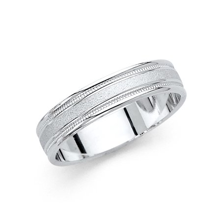 14k Sand - Solid 14k White Gold Band Wedding Milgrain Ring Classic Sand & Polished Finish Mens Womens 5 mm