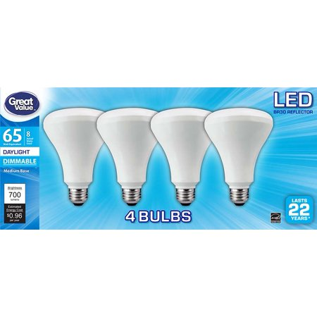 Great Value LED Light Bulb, 8W (65W Equivalent) BR30 Reflector Lamp E26 Medium Base, Dimmable, Daylight, (Br40 Medium Base Frost Reflector)