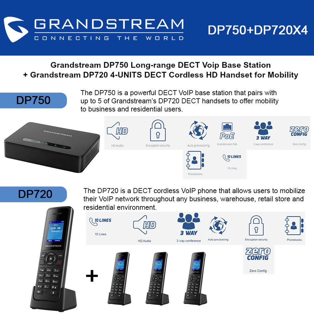 Grandstream DP750 Long-range DECT Base Station + DP720 4-UNITS DECT HD Handset