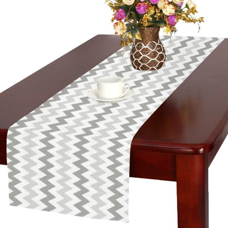 MYPOP Light Gray Retro Chevron Long Table Runner 16x72 incheses, Chevron Rectangle Table Runner Cotton Linen Cloth Placemat for Office Kitchen Dining Wedding Party Home (Cotton Table Runner Cloth)