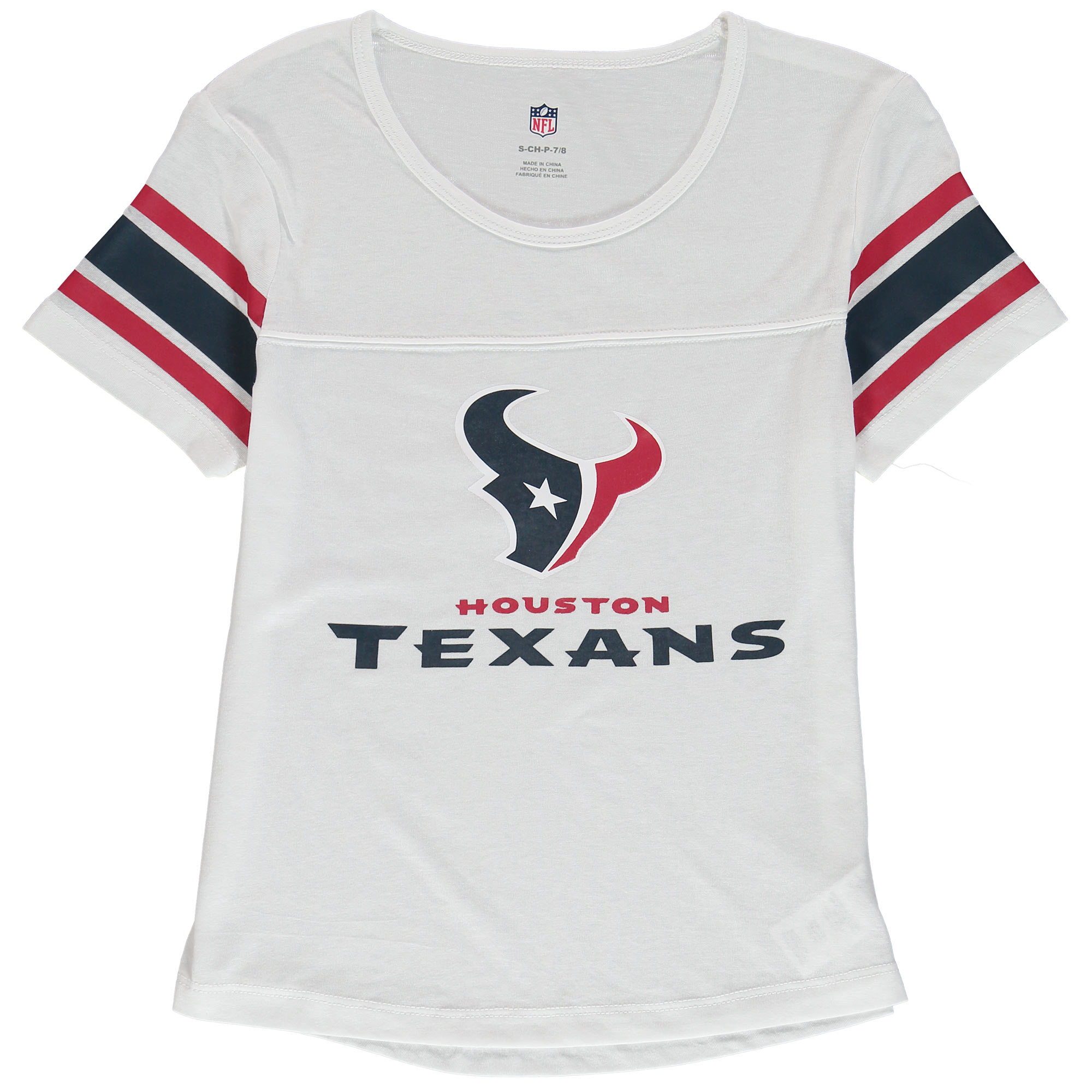 Houston Texans Girls Youth Team Pride Burnout Short Sleeve T-Shirt - White